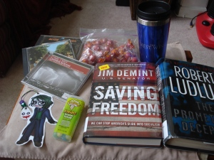 """All set. The Robert Ludlum book is my """"Emergency Fiction""""."""